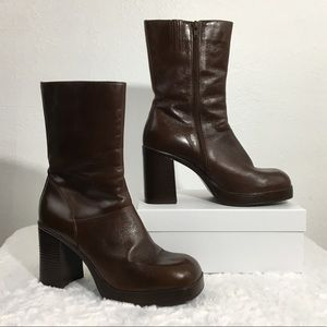 Steve Madden Chocolate Brown Heeled Leather Boots